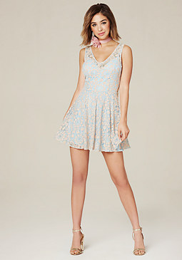 bebe Andria Lace Flared Dress