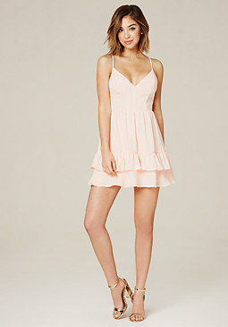 bebe Back Lace Ruffled Dress
