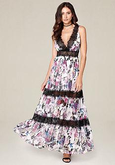 Print Tiered Maxi Dress
