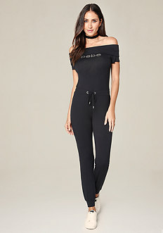 Logo Off Shoulder Jumpsuit