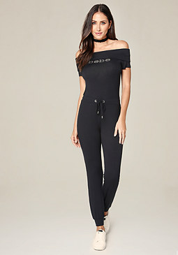 bebe Logo Off Shoulder Jumpsuit