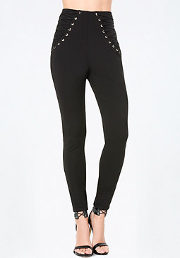 bebe Piper Lace Up High Leggings