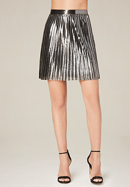 bebe Pleated Metallic Miniskirt