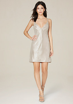bebe Foiled Knit Slip Dress