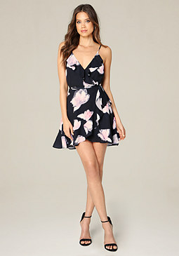 bebe Print Ruffled Wrap Dress