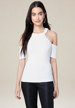 bebe Victoria Cold Shoulder Top