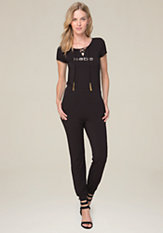 bebe Logo Lace Up Jumpsuit