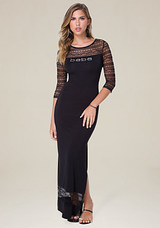 Logo Lace Trim Maxi Dress