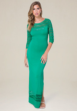 bebe Logo Lace Trim Maxi Dress