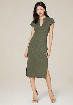 bebe Poor Boy Ribbed Midi Dress
