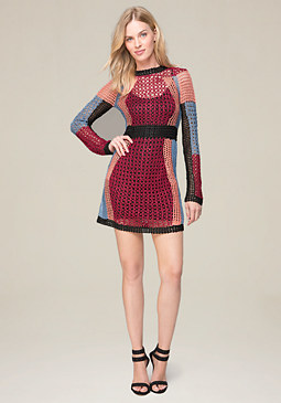 bebe Crochet Mini Dress