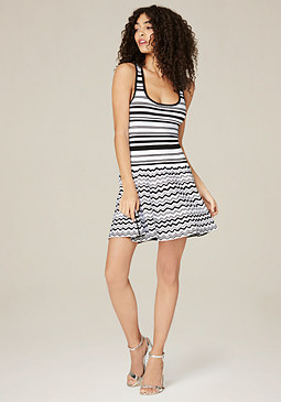 bebe Black & White Flared Dress