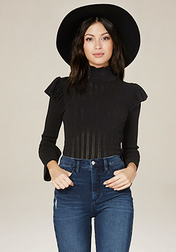 bebe Ruffle Mock Neck Sweater