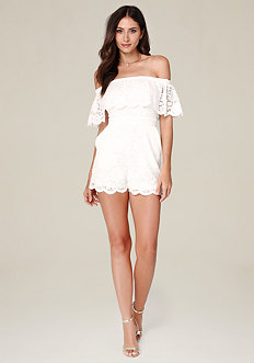 Lace Off Shoulder Romper