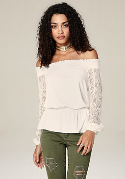 bebe Sidra Lace Trim Top