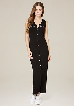 bebe Logo Button Up Maxi Dress