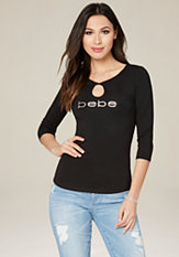 bebe Logo Twist Keyhole Top
