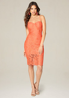 Lace Bustier Midi Dress