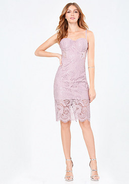 bebe Lace Bustier Midi Dress