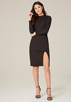 Gigi Ribbed Mock Neck Dress