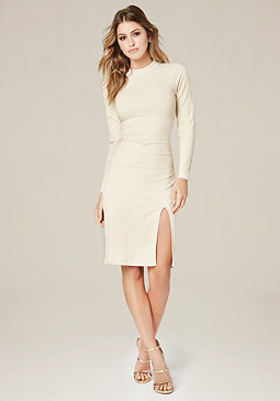 bebe Gigi Ribbed Mock Neck Dress