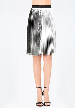 bebe Pleated Foil Skirt
