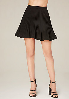 Pleated Flare Hem Miniskirt