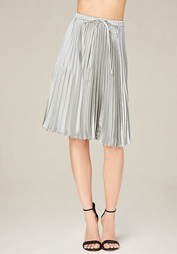 bebe Metallic Pleated Skirt