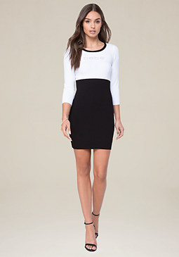 bebe Logo Ribbed Skirt Dress
