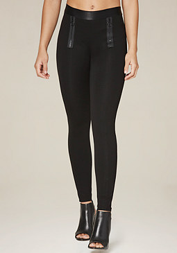 bebe Double Ring Zip Leggings