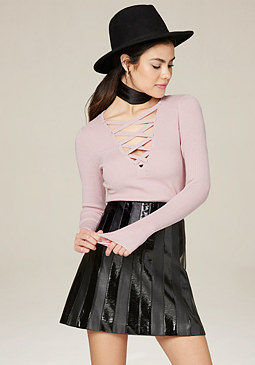 bebe Solid Lace Up V-Neck Top