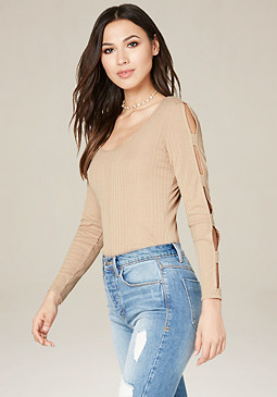 bebe Magda Ribbed Top