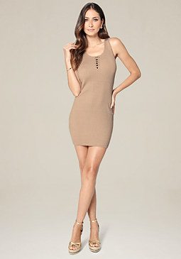 bebe Ribbed Lace Up Tank Dress