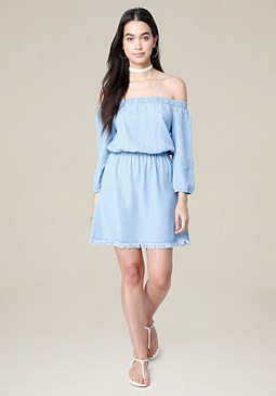 bebe Aimee Fray Hem Dress