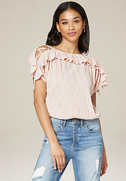 bebe Ruffled Cross Strap Top