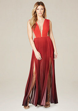 bebe Petite Ombre Pleated Gown