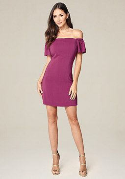 bebe Off Shoulder A-Line Dress