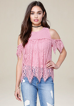 bebe Mix Lace Top