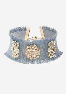 Crystal Detail Denim Choker
