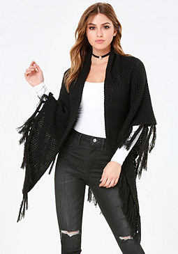 bebe Fringe Knit Cape