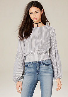 Striped Blouson Sleeve Top