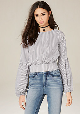 bebe Striped Blouson Sleeve Top
