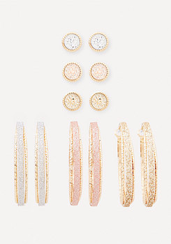 bebe Glitter Earring Set