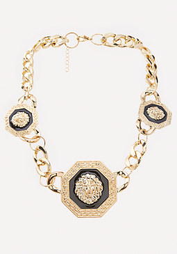 bebe Lion Station Necklace