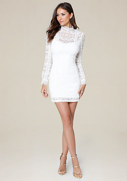 bebe Molly Lace High Neck Dress