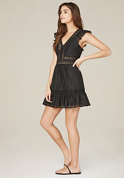 bebe Cotton & Silk Ruffled Dress