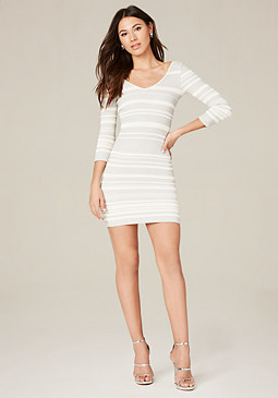 bebe Striped Double V-Neck Dress