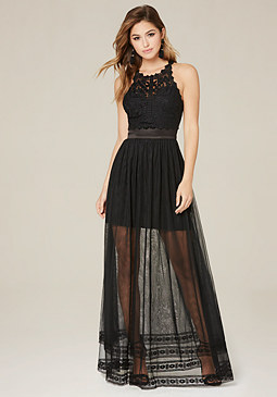 bebe Rikki Embroidered Gown