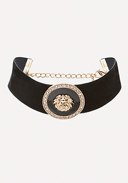 bebe Lion Medallion Wide Choker
