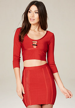 bebe Emma Bar Trim Bandage Top